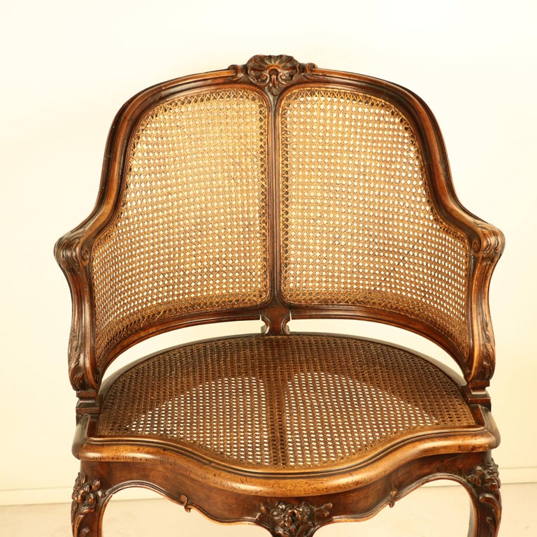 Louis XV Style Walnut and Caned French Provincial Bergere For Sale 5