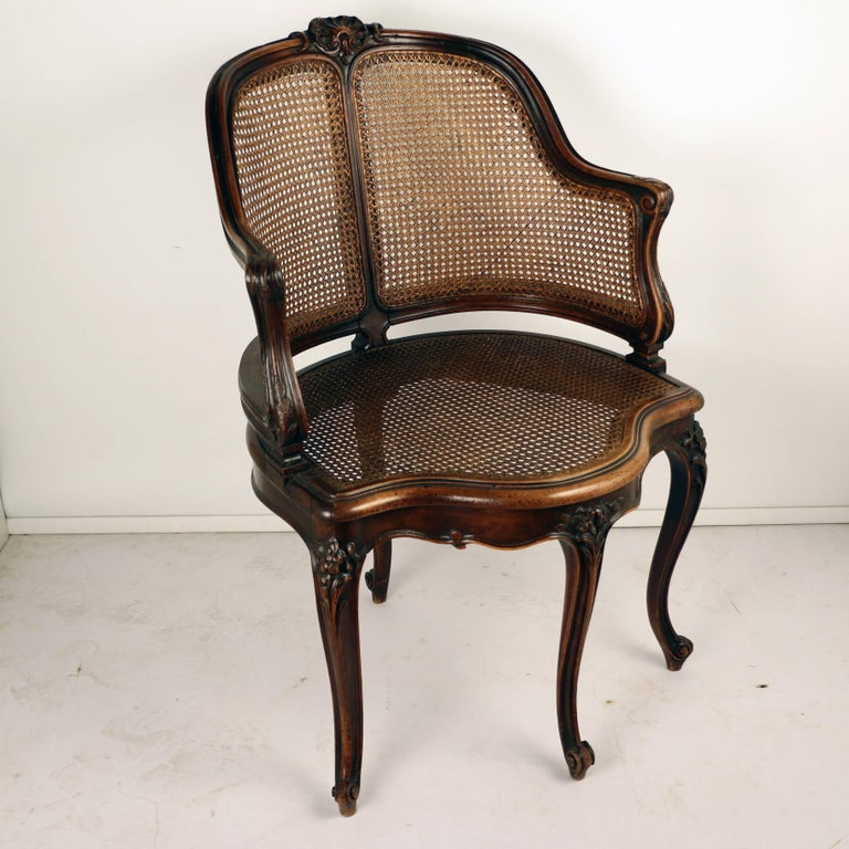Carved Louis XV Style Walnut and Caned French Provincial Bergere For Sale