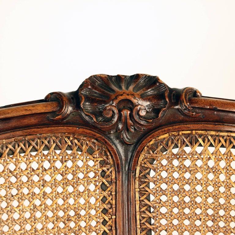 Louis XV Style Walnut and Caned French Provincial Bergere For Sale 4