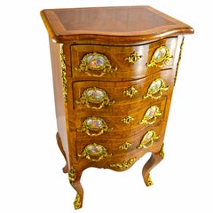 Louis XV Style Walnut Chest with Gilt Bronze Mounts and Porcelain Plaques