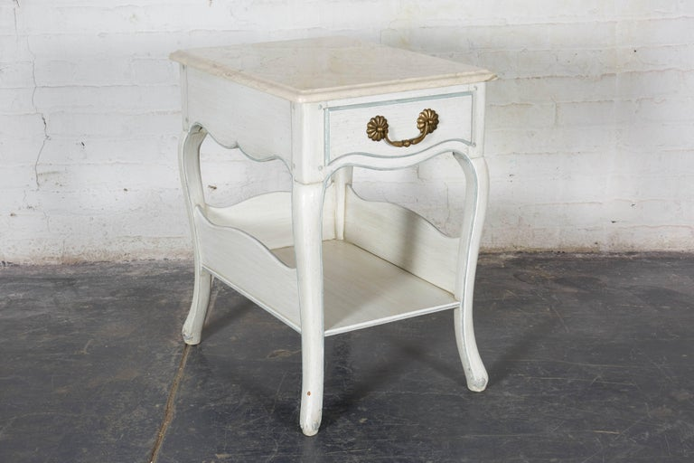 Contemporary Louis XV Style White and Blue Night Tables For Sale