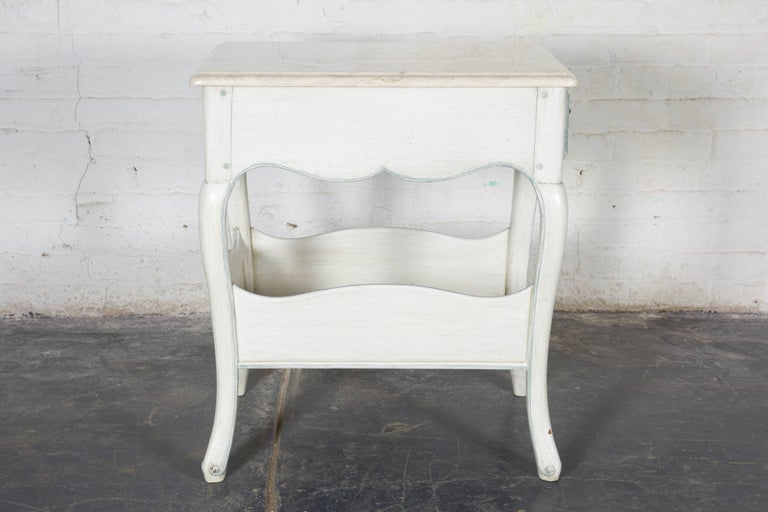 Marble Louis XV Style White and Blue Night Tables For Sale
