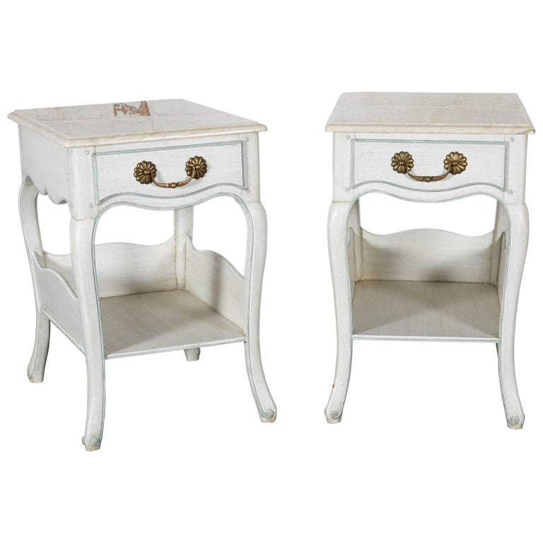 Louis XV Style White and Blue Night Tables For Sale