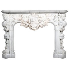 Louis XV Style White Carrara Marble Figural Fireplace