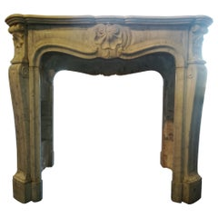 Louis XV Style, White Carrara Marble Fireplace Mantel, 19th Century, 3 Shells