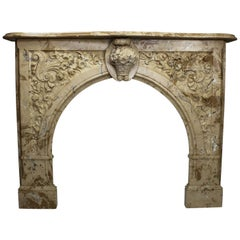 Louis XV Style White & Veined Beige-Brown Cultured Cast-Marble Fireplace Mantel