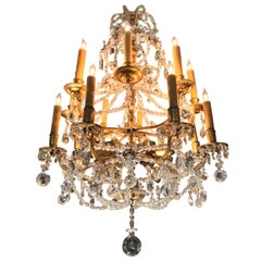 18th C Ormolu Rock Crystal 16-Light Chandelier hanging ceiling light pendant LA