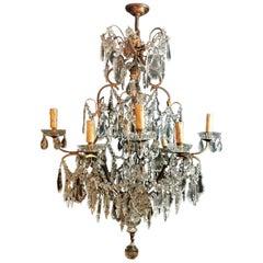 Louis XV Venetian Style Italian Chandelier in Bronze with Cut Crystals