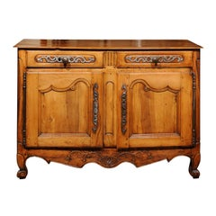 French 1820s Louis XV Style Walnut Two-Drawer and Two-Door Buffet from Provence