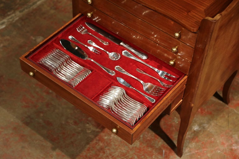 Louis XV Walnut Chest with Stamped Christofle Silver Plated Flatware 181 Pieces For Sale 4