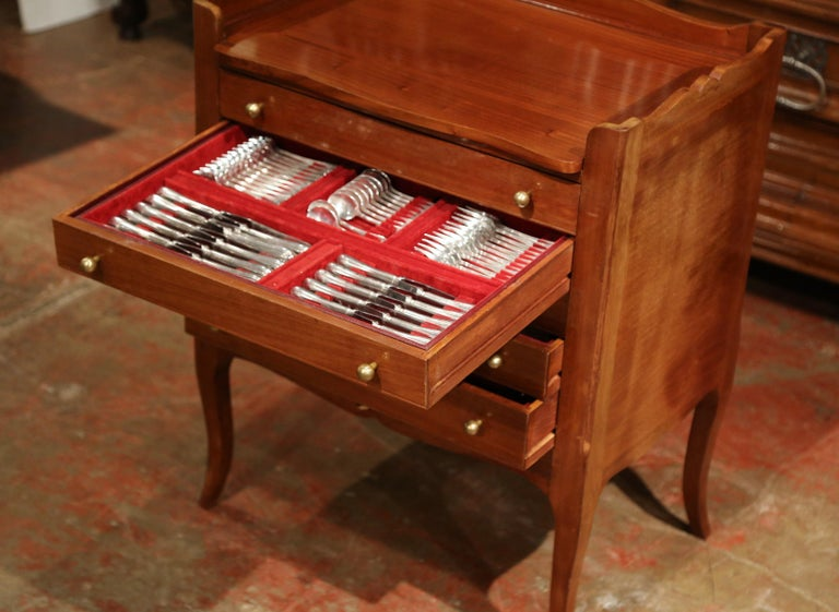Louis XV Walnut Chest with Stamped Christofle Silver Plated Flatware 181 Pieces For Sale 6