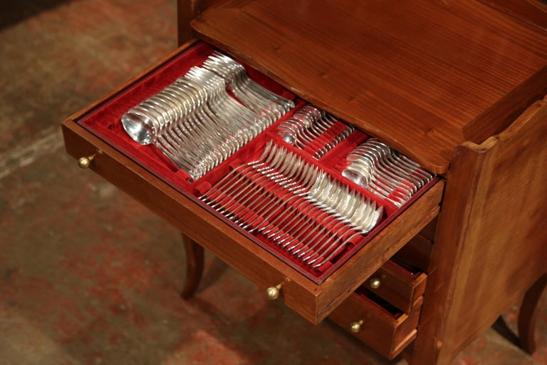 Louis XV Walnut Chest with Stamped Christofle Silver Plated Flatware 181 Pieces For Sale 9