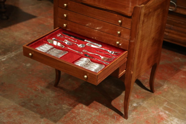 Louis XV Walnut Chest with Stamped Christofle Silver Plated Flatware 181 Pieces For Sale 3