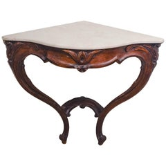 Louis XV Walnut Corner Console with Marble Top