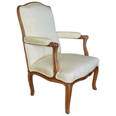 Louis XV Walnut Silk Upholstered Open Arm Chair