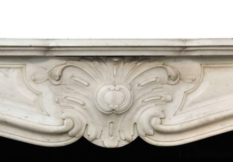 French Louis XV White Carrara Marble Mantle Fireplace, 19th Century For Sale