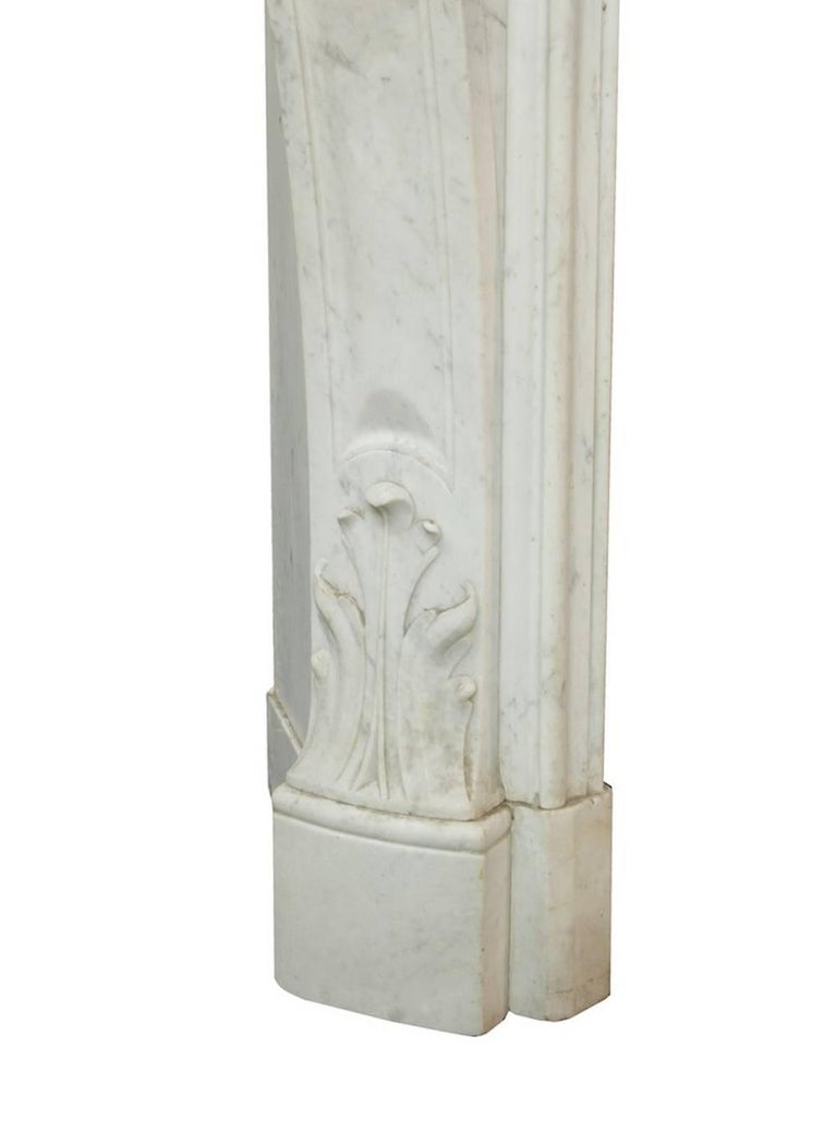 Louis XV White Carrara Marble Mantle Fireplace, 19th Century For Sale 1