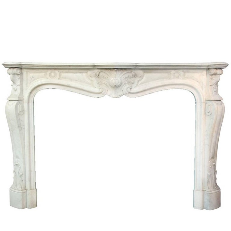 Louis XV White Carrara Marble Mantle Fireplace, 19th Century