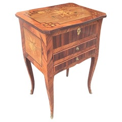 Louis XV/XVI Marquetry Inlay Table á Ouvrage in Kingwood and Purplewood