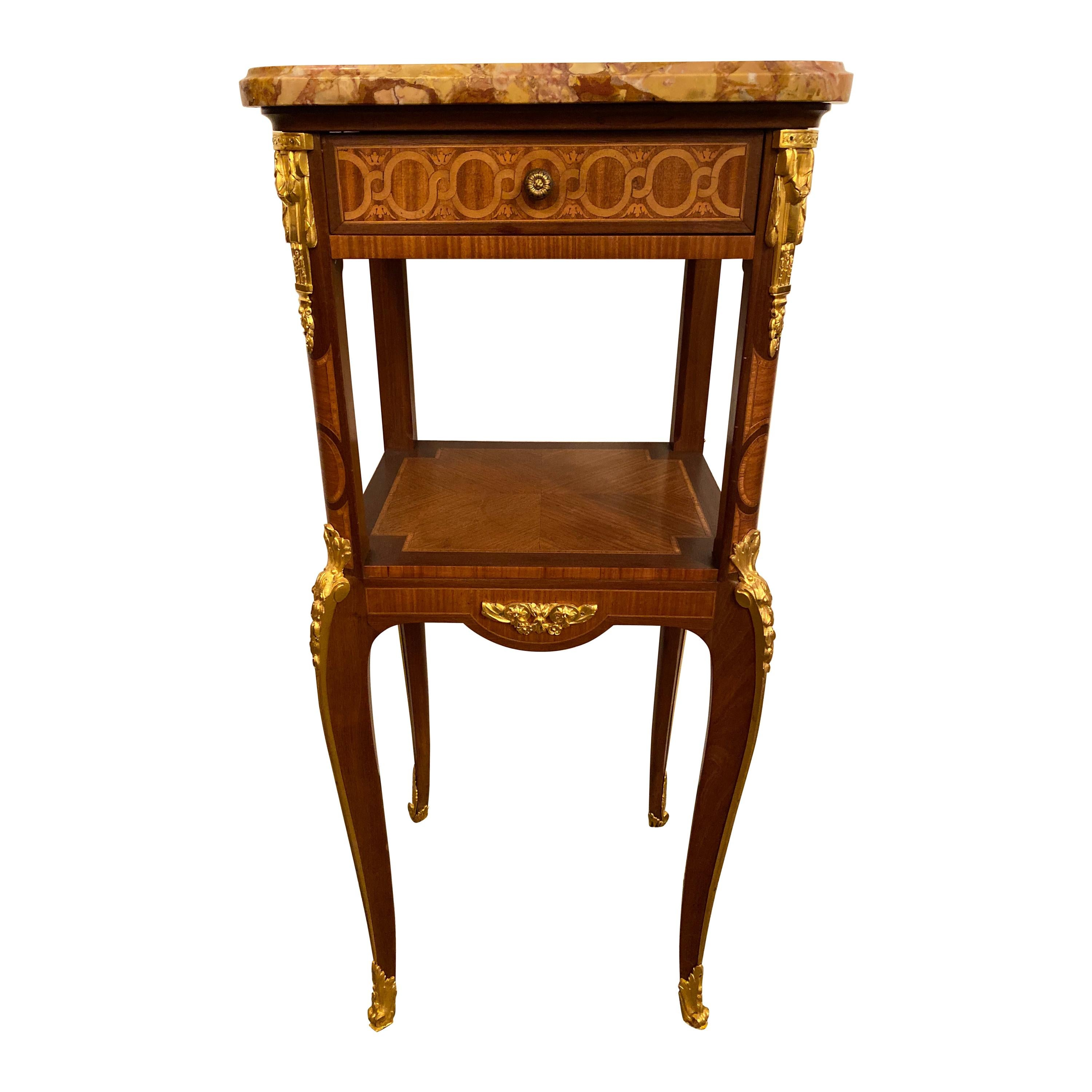 Louis XV-XVI Style Marble-Top Side Table End Table Pedestal, Transitional
