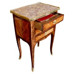Louis XV/XVI Transitional Marquetry Chevet with Red Leather Writing Surface