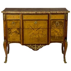 Louis XV/XVI Transitional Ormolu Mounted Marquetry Commode by Ohneberg
