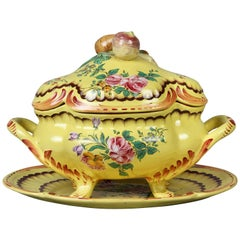Louis XV Yellow Faience Pottery Sauce Tureen
