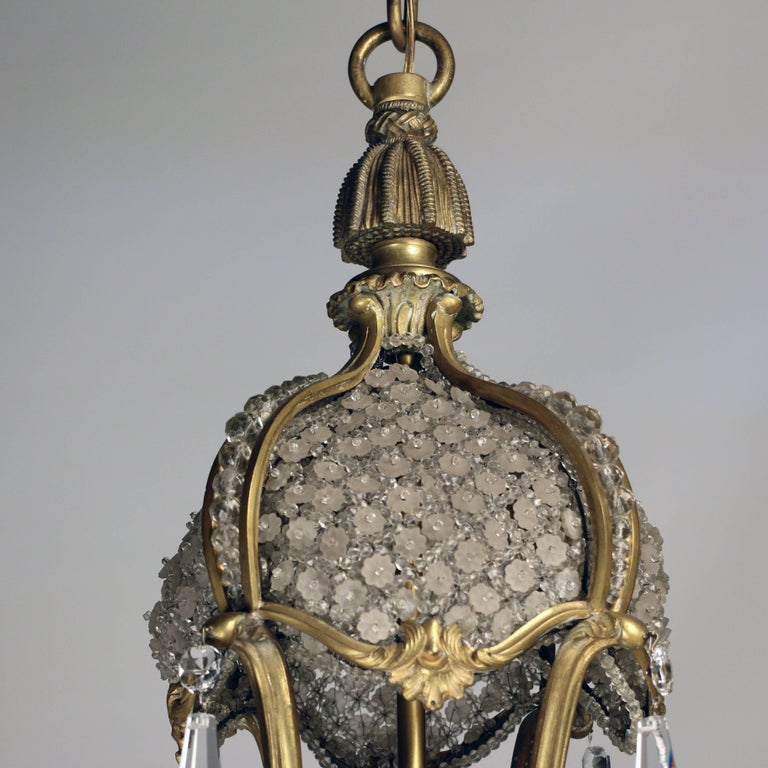 Louis XV1 Style Bronze and Crystal Chandelier For Sale 2