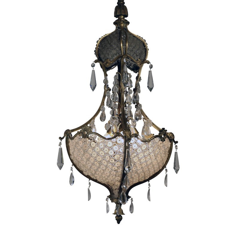 Louis XV1 Style Bronze and Crystal Chandelier For Sale
