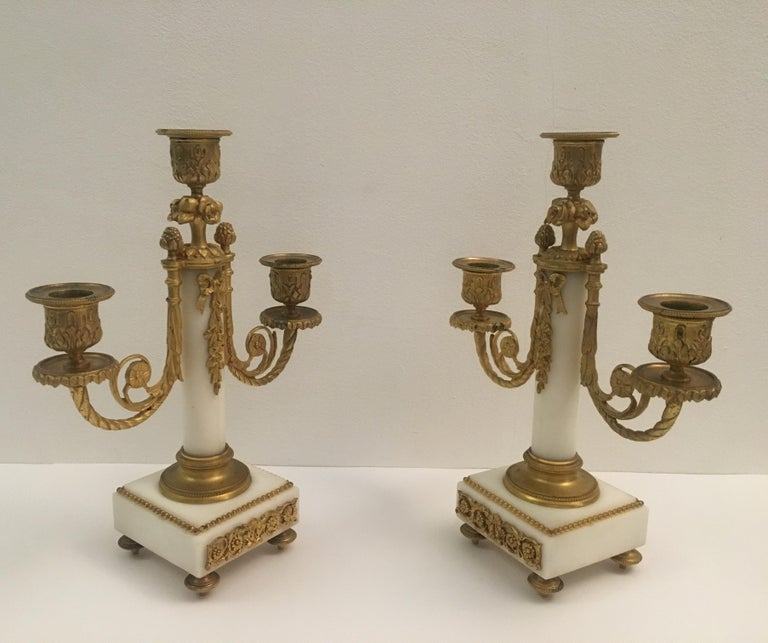 19th C. French Louis XVI Marble and Gilded Bronze Mantel Clock and Garniture Set For Sale 5