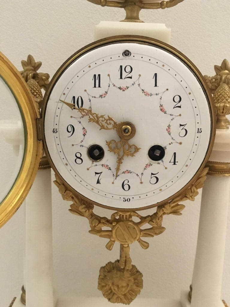 Hand-Crafted 19th C. French Louis XVI Marble and Gilded Bronze Mantel Clock and Garniture Set For Sale