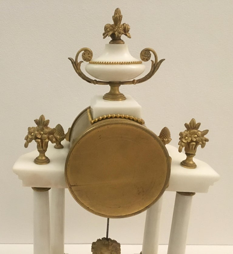 19th Century 19th C. French Louis XVI Marble and Gilded Bronze Mantel Clock and Garniture Set For Sale