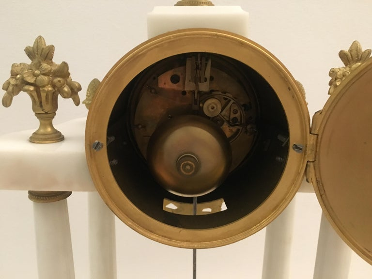 19th C. French Louis XVI Marble and Gilded Bronze Mantel Clock and Garniture Set For Sale 1