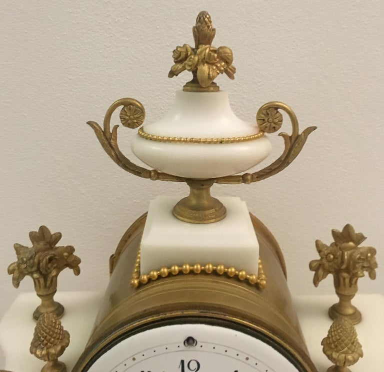 19th C. French Louis XVI Marble and Gilded Bronze Mantel Clock and Garniture Set For Sale 2