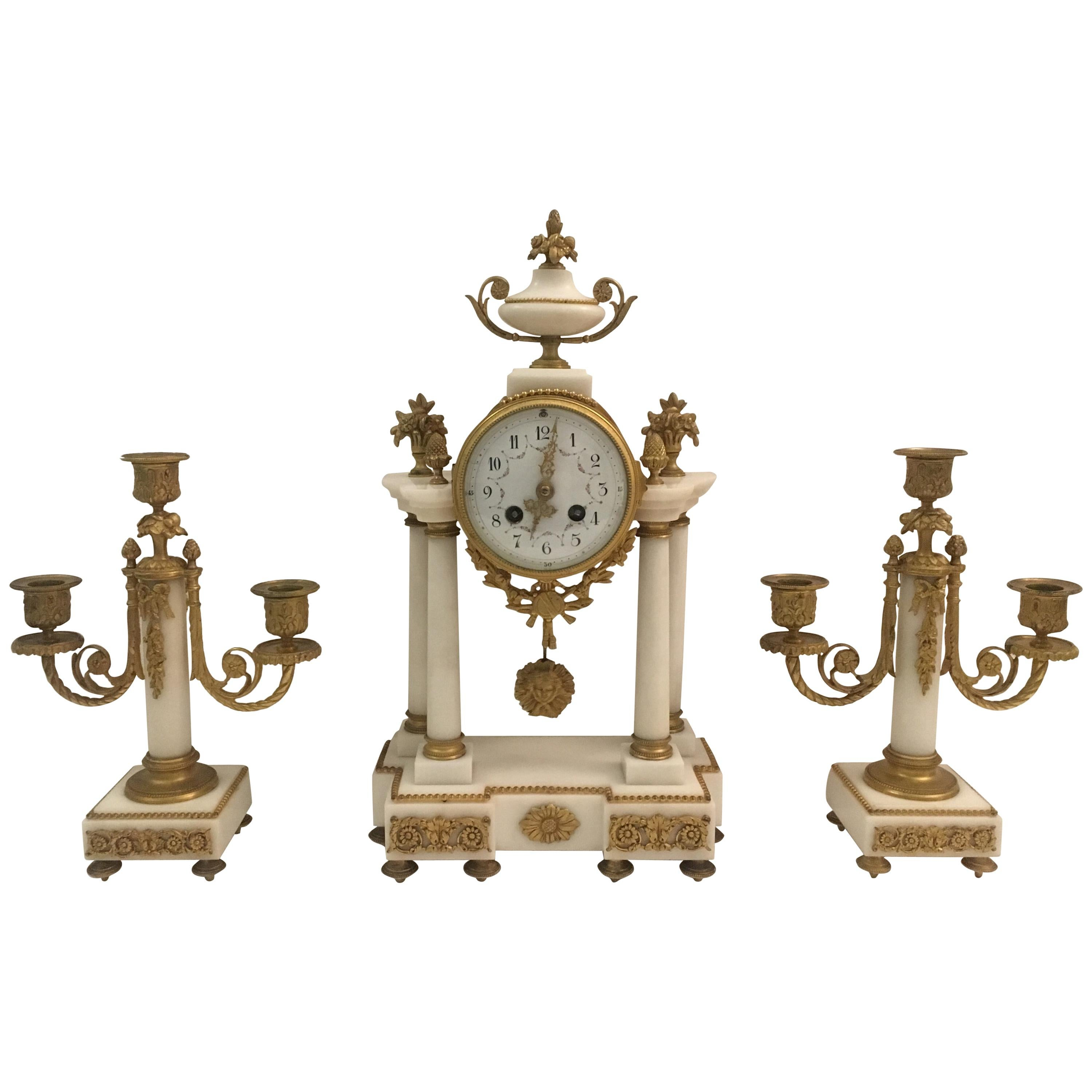 19th C. French Louis XVI Marble and Gilded Bronze Mantel Clock and Garniture Set