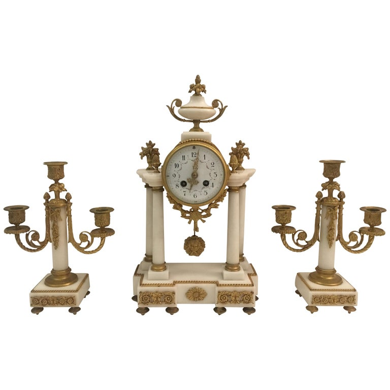 19th C. French Louis XVI Marble and Gilded Bronze Mantel Clock and Garniture Set For Sale