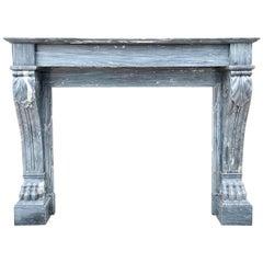Louis XVI Antique Bardiglio Marble Fireplace Mantel