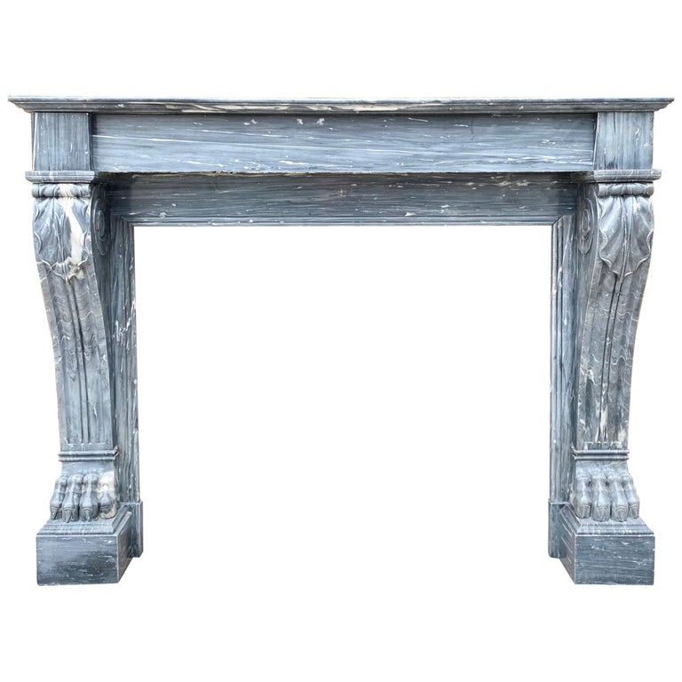Louis XVI Antique Bardiglio Marble Fireplace Mantel For Sale