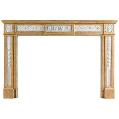 Louis XVI Antique Chimneypiece Carved in Statuary and Crema Valencua Marble