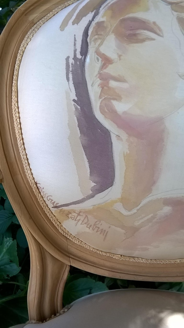 Louis XVI armchair, painted by the artist Kriss Dubini Guenzati in the 1990s. Size: Height 93cm, width 52cm, depth 45cm, height of the seat 48 cm. Created by the artist and exhibited on the occasion of a cultural event in Milan, courtyard of the