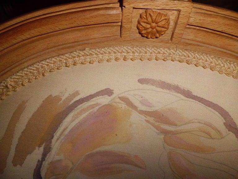 Beech Louis XVI Armchair 20th Century, Painted by the Artist Kriss Dubini Guenzati For Sale