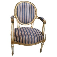 Louis XVI Armchair Late 18th or Early 19th Gilt and Cream Wood