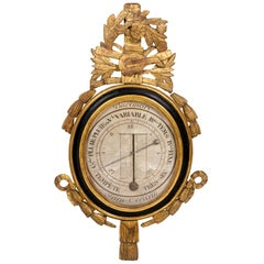 Louis XVI Barometer in Black Lacquered Wood and Gilt Stucco, 18th Century
