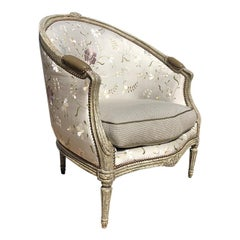Pale Gray Louis XVI Barrel back Bergere Embroidered Silk Armchair Minton Spidell
