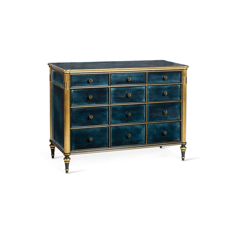 The Louis XVI Sideboard is defined by a fancy and royal appearance: the blue shades plus the ivory and gold finishes adorning it, create a delightful piece full of character and elegance. It has 6 drawers sliding on metal guides covered by Alcantara