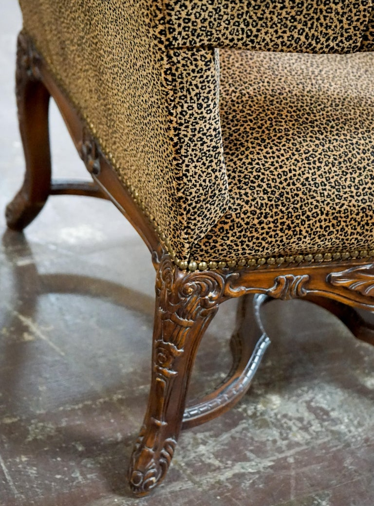 Louis XVI Bergere Chair with Leopard Upholstery For Sale 5