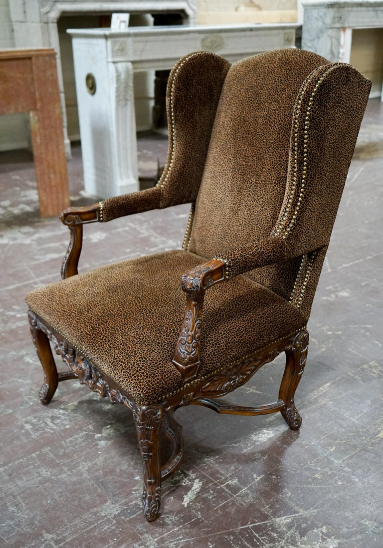 French Louis XVI Bergere Chair with Leopard Upholstery For Sale