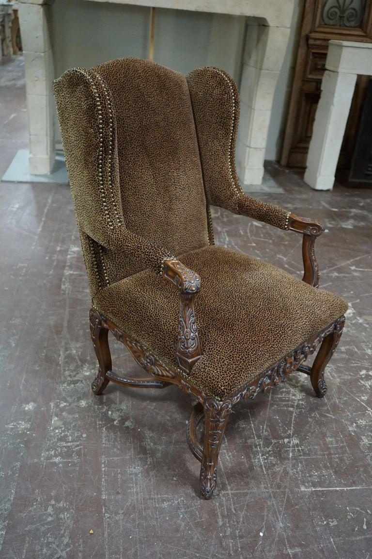 19th Century Louis XVI Bergere Chair with Leopard Upholstery For Sale