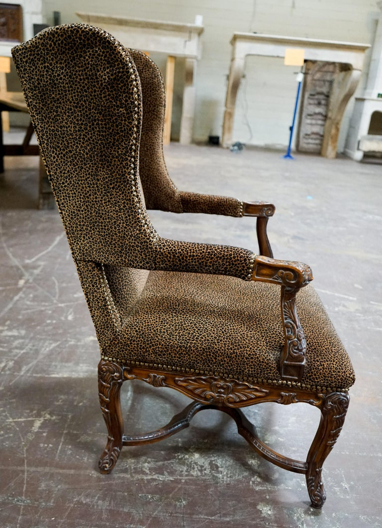 Louis XVI Bergere Chair with Leopard Upholstery For Sale 4
