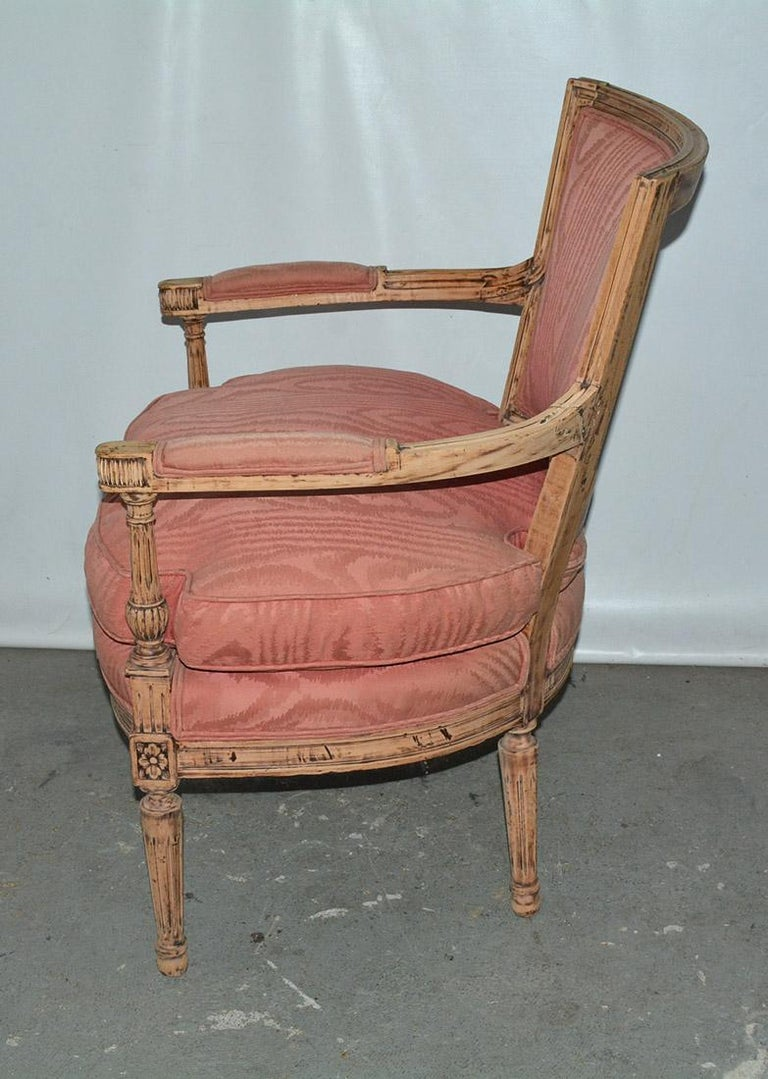 Hand-Carved Louis XVI Bergère For Sale